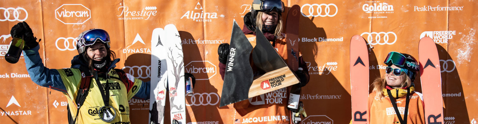 HAZEL BIRNBAUM ON THE PODIUM OF THE FREERIDE WORLD TOUR IN KICKING HORSE